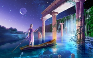 esoteric woman water temple